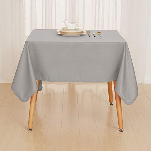 Deconovo Tischdecke Wasserabweisend Tischwäsche Lotuseffekt Tischtücher 140x240 cm Grau