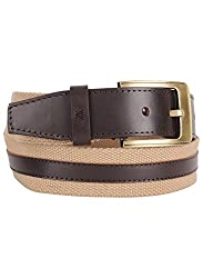 Aditi Wasan Genuine Leather & Canavs Beige - Brown Mens Belt