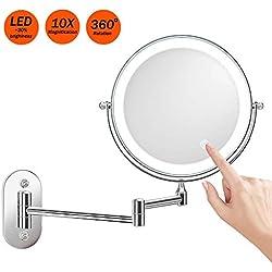 Miroir Grossissant Lumineux Mural x10 Miroir Salle De Bain 8 Pouces Double Face LED 360 Degrés Rotation Pliable 4 Piles AAA Requises (Non Fournies)