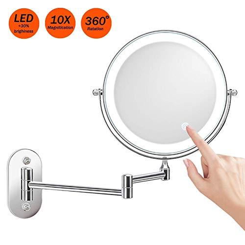 Miroir Grossissant Lumineux Mural x10 Miroir Salle De Bain 8 Pouces Double Face LED 360 Degrés Rotation Pliable 4 Piles AAA Requises...