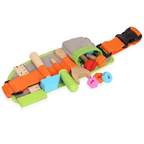 nesthocker - Werkzeuggürtel für kleine Handwerker zum Umschnallen und Verschliessen (Hammer, Gabelschlüssel, Schraubenzieher, Lineal, Schrauben und Muttern aus Holz - 13 bunte Teile)