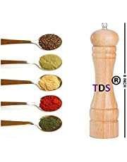 TDS® Wooden Salt and Pepper Grinder Mixer Burr Mill Traditional Spice Storage-Wooden (6 Inch)