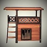 Casetta per gatti, tana da esterni, casa a due piani in legno per animali domestici, cuccia di lusso, per giardino e per casa