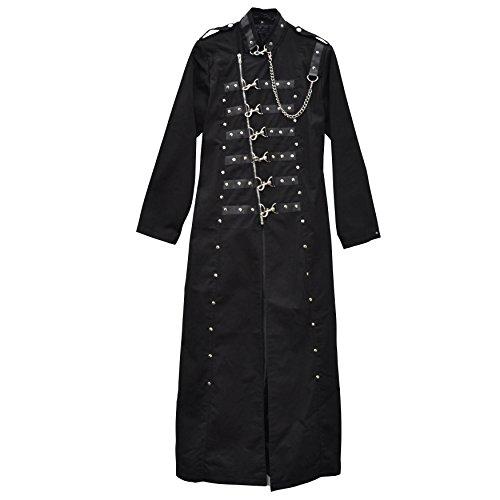 Zoelibat 31017205.008M - Damen Gothic Steampunk Mantel mit Ketten, Ösen und Haken, wadenlang, Gr. M, schwarz -