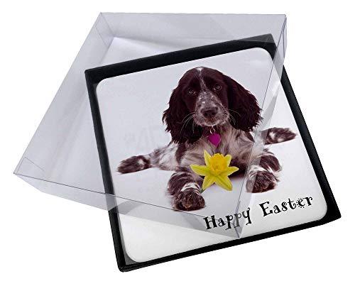 4x 'Happy Easter' Cocker Spaniel Bild Tisch-Untersetzer in Geschenk-Box -