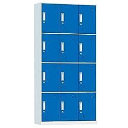 Racking Solutions 12 Door Metal Storage Lockers, Blue & Grey Steel Lockable Unit, Staff Gym School Changing 1850mm H x 900mm W x 400mm D
