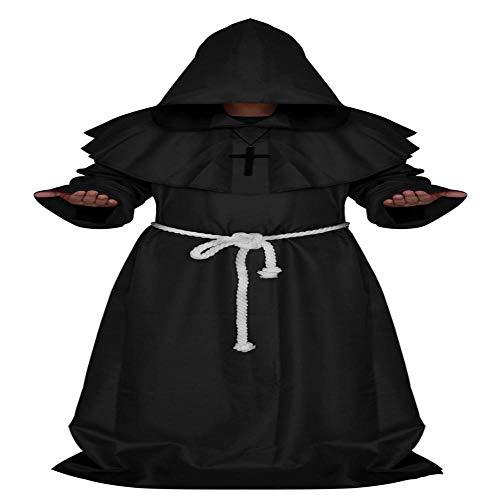 NiQiShangMao Mittelalterlichen Mönch Halloween Kostüme Comic Con Party Cosplay Kostüm Mit Kapuze Roben Mantel Cape Friar Renaissance Priester Für Männer (Comic Con Kostüm Lustig)