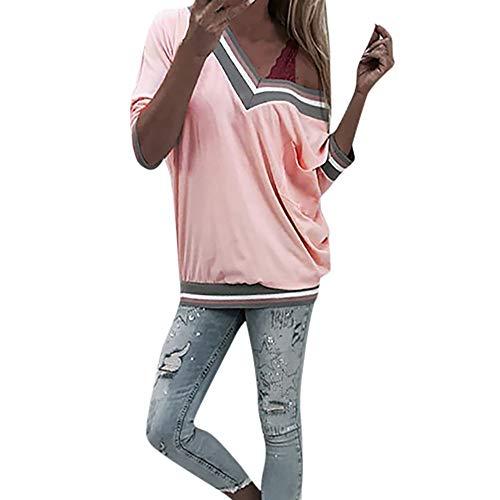 Langarmshirts Tops Damen Herbst ❤ JUSTSELL Frauen Farbe Patchwork Bluse Gestreift T Shirt V-Ausschnitt Oberteile Mit Taschen Pullover Casual Damentops (Eimer Baumwolle Hut Gestreiften)