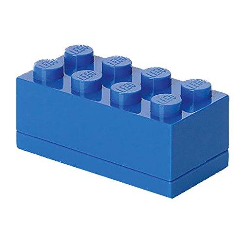Mini Contenitore Lego a 8 Bottoncini, Inserto Portavivande, Porta Snack, Blu