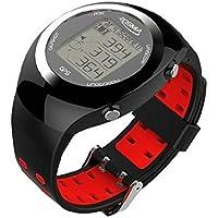 POSMA GT2 Golf Trainer Activity Tracking GPS Golf Watch Range Finder Bracelets, Global Courses - Red