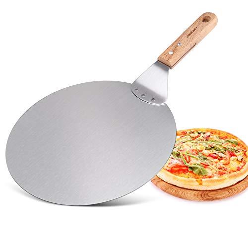 HOMEASY Pizzaschieber Pizzaschaufel aus Edelstahl Pizzaheber mit Holz Griff Pizza Spachtel für Pizza-Ofen Brotschieber & Tortenheber