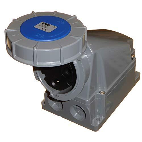 Garo 63A Wandsteckdose 3-polig 2P+E wasserdicht IP67 einphasig 63 Amp 230V -