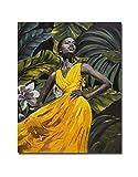 Wowdecor Wall Art Modern stampe su tela pittura–giallo vestito africano ragazza immagini stampa giclée su tela, decorazione da parete per casa camera da letto soggiorno–incorniciata, large