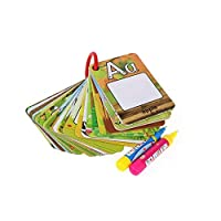 رسم بالألوان المائية دفتر فن غرافيتي بطاقة 26 حرف التعليم المبكر للأطفال بطاقات لتنمية الإدراك الأبجدية من ايه إلى زد تلوين الكلمات لوح دودل + 2 قلم رسم سحري ألعاب لعبة للفتية الأولاد الأطفال
