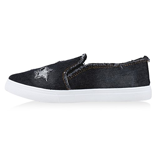 Damen Sneakers Slip-ons Jeans Denim Metallic Slipper Schwarz