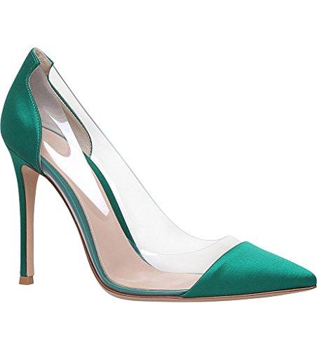 EDEFS - Scarpe col tacco Donna - 12cm - Tacchi Alti - Trasparente Scarpe col Tacco - Tacco a spillo Verde