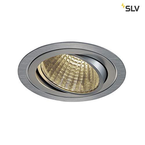 SLV LED Deckeneinbaustrahler New Tria DL Set, rund, COB, 25W, 3000K, 30 Grad, inklusiv Treiber, Clipfedern, alu gebürstet 114276