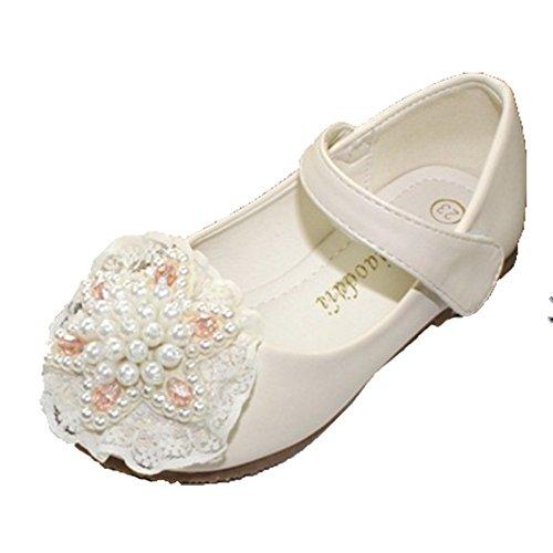 Ohmais Enfants Filles Chaussure cérémonie Ballerines à bride Fête Demoiselle d'honneur Mariage Escarpin à petit talon abricot