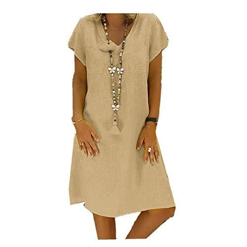 Damen Leinen Kleid Frauen Sommer T-Shirt locker lässig Große Größe Absatz einfaches Kleid URIBAKY (XXXXXL, Khaki)