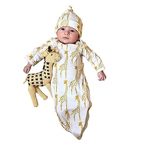 2PCs Ensemble De Sac De Couchage Pour Enfants,HYMax Enfants Girafe Imprimer Sac De Couchage + Hat Set (12mois)