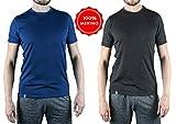 Alpin Loacker Merino T-Shirt für Herren und Damen 100% Merino Wolle Funktions-unterwäsche (s, grau)