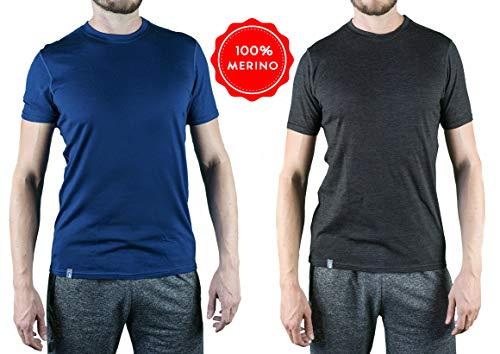 Alpin Loacker Merino T-Shirt Merino-Wolle Sportshirt Herren   wenig Schweiß + Lange trocken   Funktionsshirt Unterwäsche   m grau