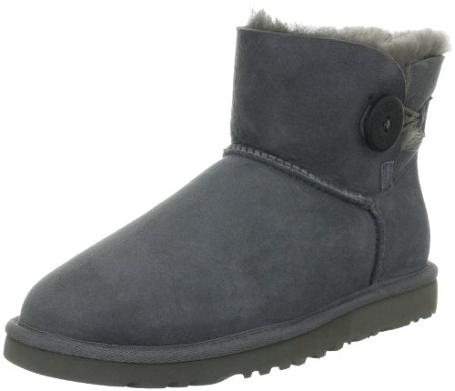 Lammfell-leder-mini (UGG W Mini Bailey Button, Damen Kurzschaft Schlupfstiefel, Grau (GREY), 37 EU (4.5 Damen UK))