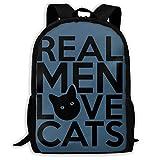 3D Printing Adult Shoulder Bag Real Men Love Cats School Backpack Bag ILY Bag Hiking Bag for Men and Women