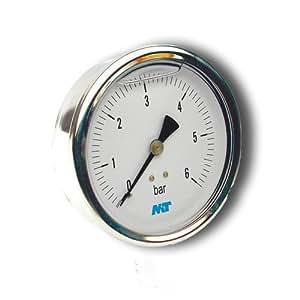 Manometer aus Edelstahl, Glyzerinmanometer, Anschluss hinten, d 63 mm 0 bis 1 bar bar