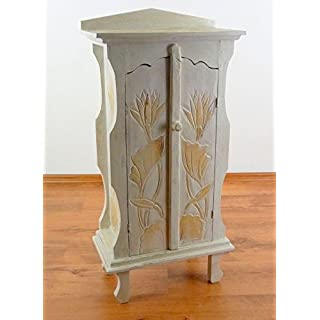 Asia Wohnstudio Small double door cabinet from Bali, bathroom, bedroom, living room hallway cupboard, handmade (white)