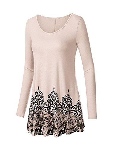 Winfon Aswinfon Tunique Femme Longue Manche Longue Chic Grande Taille Fluide Imprimé Floral Top Blouse Tee Shirt Beige fleur