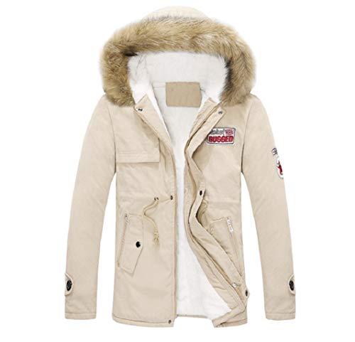 (Manadlian Damen Winterjacke Unisex Männer Frau Übergröße Pelzkragen Paar Mantel Baumwolle Tasche Lange Mit Kapuze Jacke)