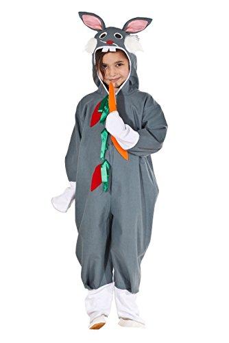 Magicoo Süßes Hasenkostüm Kinder grau für Mädchen & Jungen - Hasen Kostüm Kinder - Kaninchen Kostüm Kinder (110/116)