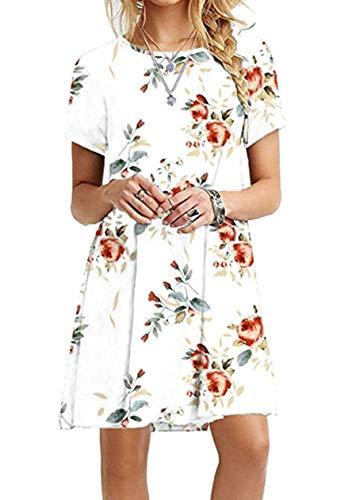 OMZIN Damen Spitzen Kurzarm A-Line Flowy Tunika Tops Rund Ausschnitt T-Shirtkleid Loose T-Shirt,Weiße Rose,L -