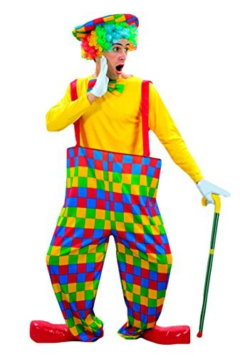 Erwachsene Herren 3PC bunten Clown Zirkus Halloween Fancy Kleid Kostüm Outfit Gr. Einheitsgröße, (Kostüme Hoop Clown)