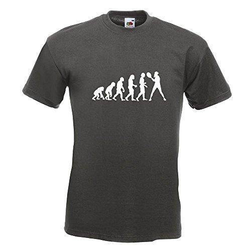 KIWISTAR - Evolution Tennis Spieler /in T-Shirt in 15 verschiedenen Farben - Herren Funshirt bedruckt Design Sprüche Spruch Motive Oberteil Baumwolle Print Größe S M L XL XXL Graphit