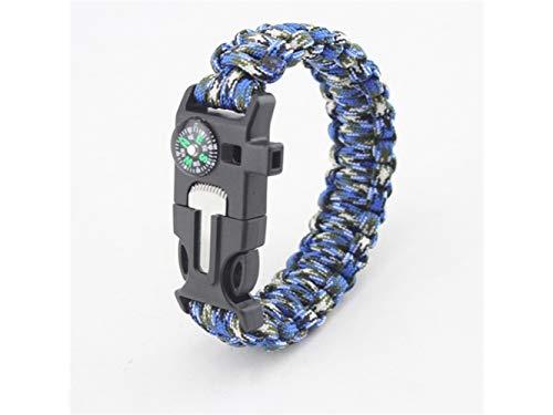 Plsonk Explorer Compass, Bracelet Multifonctionnel d'outils de Polyester pour des Sports extérieurs (Camouflage Noir et Blanc Bleu) Outil de Navigation