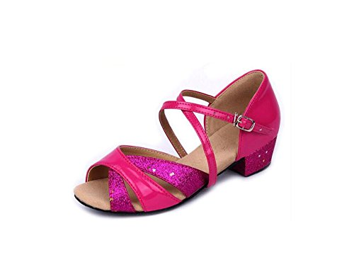 Sqiao-x- Ballroom Chaussures Pu Doux En Cuir Doux Moins Usure Adulte Fils De Danse Latino-américaine, Danse Chaussures De Danse Rouge