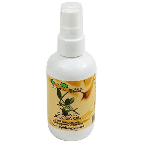 BIOPARK - Huile de Jojoba Bio - Soin hydratant pour tous les types de peau- Lutte contre le vieillissement prématuré de la peau - Démaquille - Régénère les pointes sèches des cheveux - 100 ml