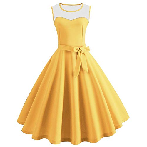 YEBIRAL Dame Dress Karneval Heißer Einfarbig Ärmellos Wadenlang PlisseeSwing Kleider Vintage Rockabilly Cocktail Party Kleid Abendkleider (Medium,Gelb)