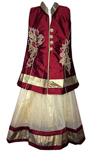 All About Pinks A Line Lehenga in Art Silk (Colour: Red, Size:...