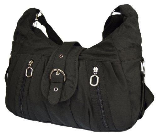 Tasche Damentasche Handtasche Stofftaschen Schultertasche 1449 (Beige) Schwarz