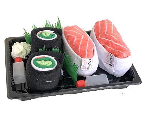 Rocking Socks Sushi Socken, 2 Paar Set, Größe 36-46, Ideal als Kleines Lustiges Geschenk für Männer und Frauen, Witzige Sushi Geschenkbox