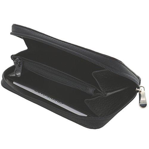 XiRRiX Portemonnaie Damen klein/Kleiner Geldbeutel mit Reißverschluss/echt Leder - schwarz