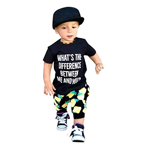 JUTOO 2 Stücke Set Kleinkind Kinder Baby Jungen Outfits Kleidung Brief Drucken T-Shirt + Ananas Hosen Set ()