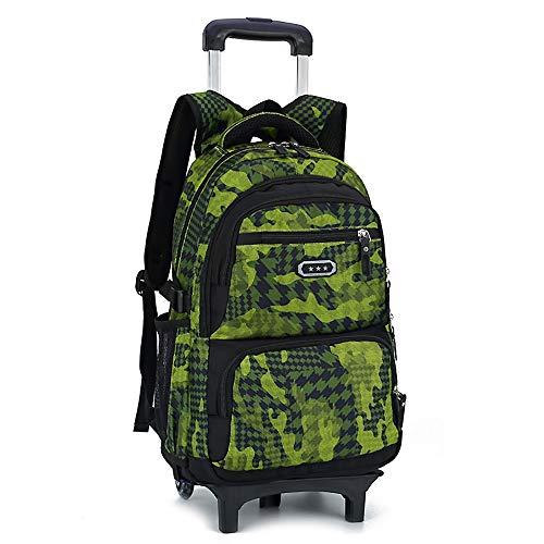 Camo Waterproof Rolling Trolley Schultasche Rucksack auf Rädern Camouflage Rollbarer Rucksack Mitführen Gepäck Grundschüler 6 Runden Treppensteigen Trolley Bag ( Farbe : Grün , Größe : Free size ) -