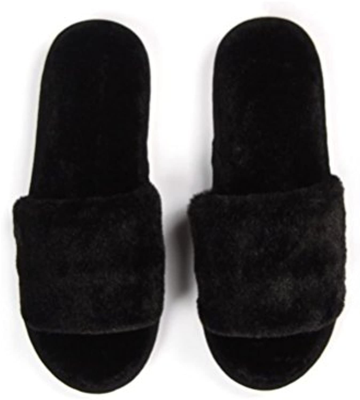 MHGAO Zapatillas de lana para mujer, negro, Large