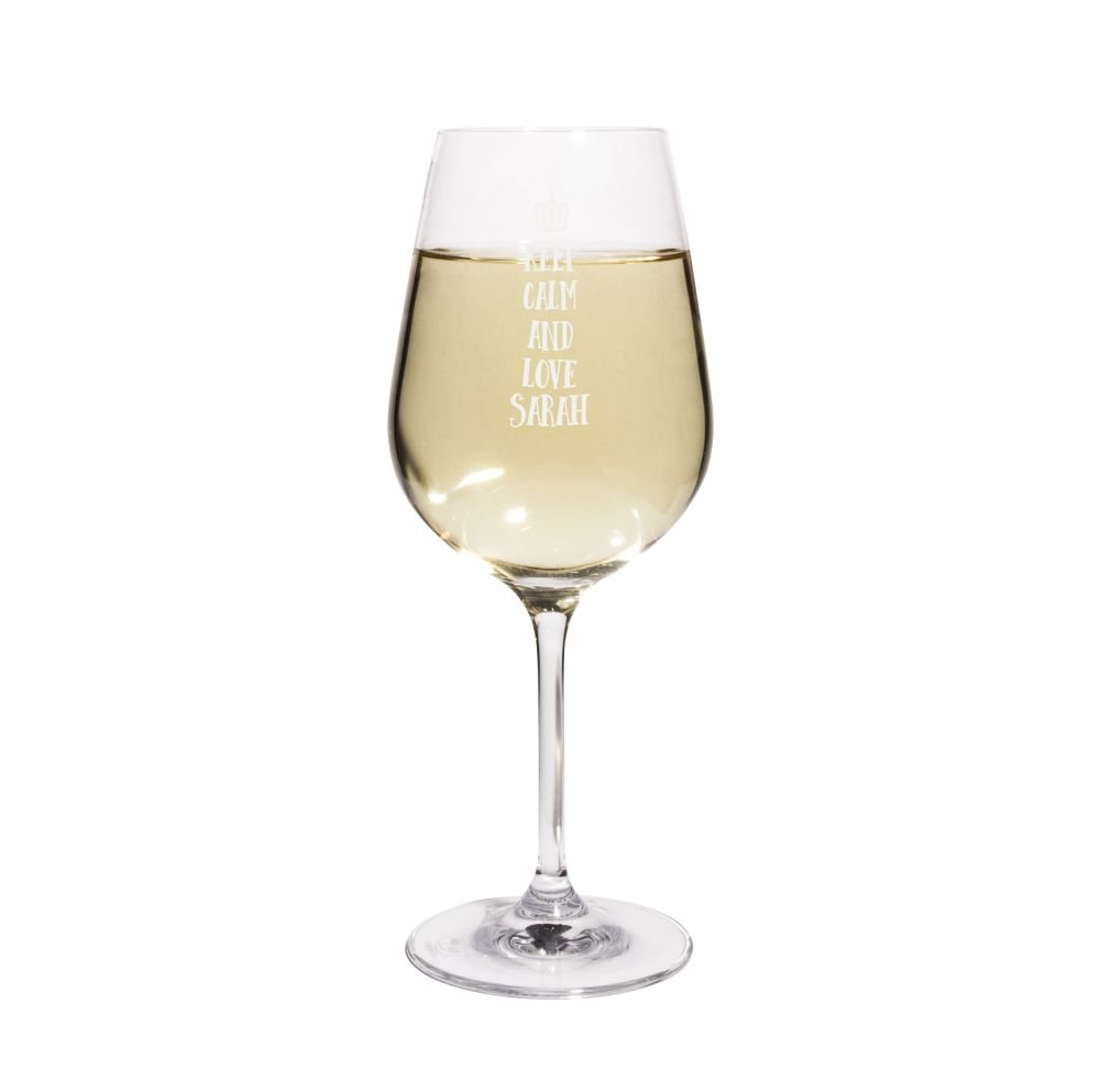 printplanet® Weißweinglas mit Namen Sarah graviert - Leonardo® Weinglas mit Gravur - Design Keep Calm