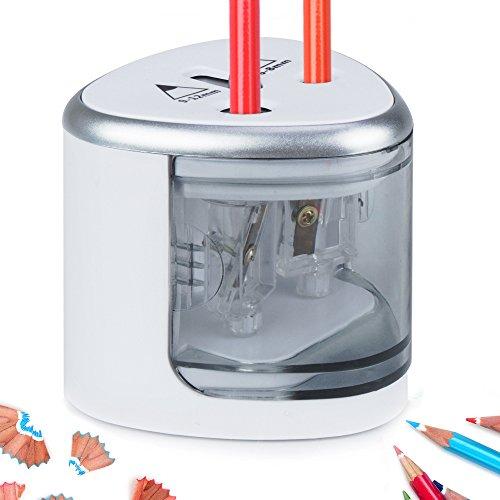 Elektrischer Bleistiftspitzer Batterieleistung Spitzmaschine 2 holes Spitzer Automatischer Bleistift-Anspitzer für Fahrzeug-Schlafzimmer Büro Reisen