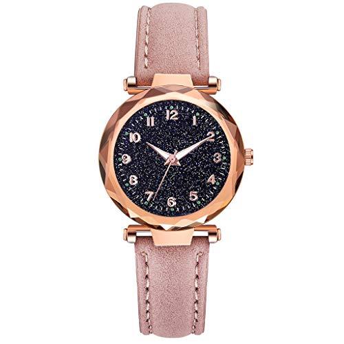 REALIKE Damen Armbanduhren Retro Prismatisch Konvex Lederband Nachthimmel Uhren Mehrfache Farben Freizeit Einfach Ultradünn Britische Artart und Weise Neue High End Geschäftsuhr Business (Nixon-skelett-uhr)